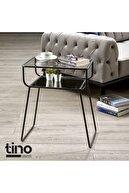 tino furniture Siyah Mat Yan Sehpa Cam Raflı Metal Geyik Sehpa