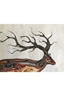 Vahap Ertekin Geyik, 35x50, Ebru Sanatı