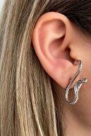 Takıştır Gümüş Renk Kobra Figürlü Küpe (çift)