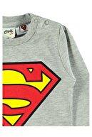 Albimini Superman Erkek Bebek Sweatshirt 6-18 Ay Gri