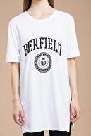 SHIEBA Kadın Beyaz Berfield Yırtmaçlı Tshirt