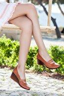 Deripabuc Hakiki Deri Taba Kadın Dolgu Topuklu Deri Ayakkabı Ars-0135