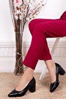 Deripabuc Hakiki Deri Siyah Kadın Topuklu Deri Ayakkabı Shn-0722