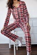 Xena Kadın Mercan Kareli Örme Pijama Takımı 1KZK8-11024-64