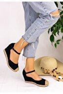 pabucmarketi Kadın Siyah Keten Dolgu Topuk Sandalet