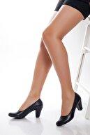 Deripabuc Hakiki Deri Siyah Kadın Topuklu Deri Ayakkabı Trc-1073