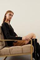 Tena Moda Kadın Siyah V Yaka Önü Çımalı Triko Kazak