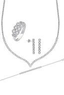 Chavin Su Yolu Gümüş Kolye Küpe Bileklik Yüzük Set Ef95