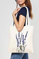 Çınar Bez Çanta Yeşil Dallı Mavi Çiçekler Baskılı Ham Bez Çanta