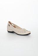 Dilimler Ayakkabı Kafes Model Bej Kadın Babet