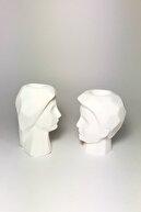 Cageartstudio Çift Erkek Ve Kadın Mumluk Beyaz