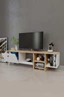 Platinreyon Platin Dekoratif Raflı Tv Ünitesi Televizyon Sehpası Meşe