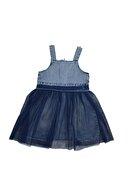 Mersevkids Kız Çocuk Pullu Kalpli Tüllü Kot Elbise 2-5 Yaş