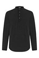 Mudo Erkek Siyah Hakim Yaka Regular Kesim Pamuk Gömlek 385813