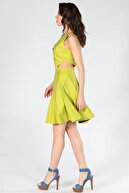 Herry Yeşil Volanlı Elbise