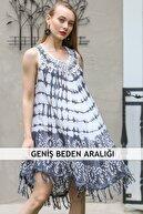 Chiccy Kadın Gri Bohem Batik Desenli Saçaklı Asimetrik Elbise M10160000EL96647