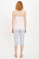 Defacto Kadın Mavi Askılı Çiçek Desenli Pijama Takımı R3831AZ20SMBE