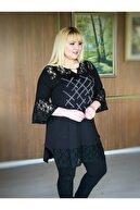 LİKRA Kadın Siyah Büyük Beden Güpür Ve Taş Detay Lı Viskon Tunik