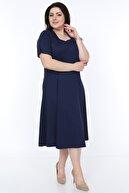 SENTEX Kadın Lacivert Kısa Kollu Kare Yaka Elbise