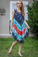 Chiccy Kadın Multi Bohem Batik Çiçek Desenli Saçaklı Asimetrik Elbise M10160000El96647