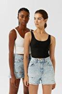 Stradivarius Kadın Siyah Ve Beyaz 2'Li Crop Top Paketi 02517457