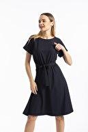 Balo Moda kadın Siyah Beli Lastikli Kuşaklı Elbise