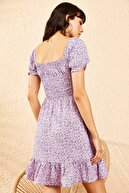 Bianco Lucci Kadın Lila Gipeli İp Askılı Küçük Çiçek Desenli Elbise 10091046