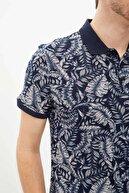 Defacto Erkek Çivit Mavisi Desenli Polo Yaka Slim Fit Pamuklu T-Shirt N6725AZ.20SM.IN75