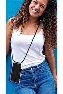 mtncover Iphone 6s Plus Için Boyun Askılı Şeffaf Çok Şık Kılıf Siyah Ipli