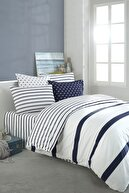 Cote Blanc Simple Line Mavi %100 Pamuk Ranforce Çift Kişilik Nevresim Takımı 200x220
