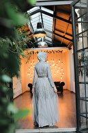 Minel Aşk Kadın Açık Gri Pul Işlemeli Tül Abiye Elbise