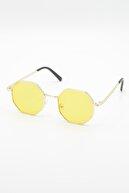 Nilu Moda Unisex Sekizgen Sarı Güneş Gözlüğü