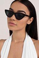 Moda Kızı Butik Kadın Siyah Cat Eye Güneş Gözlüğü