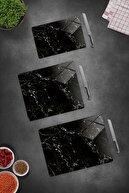 Decorita 3'lü Takım Siyah Mermer Görünümlü   Cam Kesme Tahtası - Cam Kesme Tablası