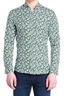 Efor G 1380 Slim Fit Yeşil Spor Gömlek
