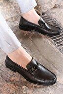 Fast Step Hakiki Deri Kösele Siyah Erkek Klasik Ayakkabı 932ma67