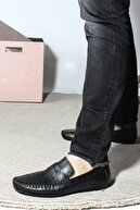 Fast Step Hakiki Deri Siyah Erkek Loafer Ayakkabı 858ma411