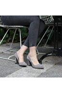 37Numara Büyük Numara Kadın Ayakkabısı 41-42-43 Numara Gri Stiletto