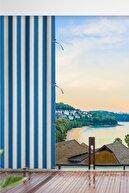 ALTINPAMUK 300x250 Balkon Perdesi Balkon Brandası Turkuaz Beyaz Bağcıklı