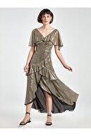Nocturne V Yaka Parlak Desenli Elbise