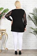 1fazlası Büyük Beden Siyah Zebra Flok Desenli Bluz