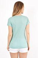 Twenty3 Kadın Yeşil Önü Baskılı Yarasa Kol Bisiklet Yaka T-shirt