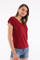 Devinka Kadın Bordo V Yaka T-shirt