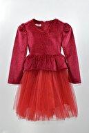 Mersevkids Kız Çocuk Simli Tül Etekli Kemerli Kırmızı Elbise 2-7 Yaş - Dar Kalıp