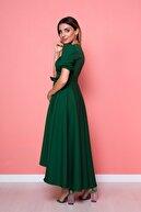 Bidoluelbise Kadın Zümrüt Asimetrik Kesim Elbise