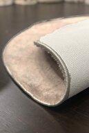 Sarar Yuvarlak Düz Renk Peluş Pofuduk Kaydırmaz Jel Taban Vizon Renk Halı 160 X 160 cm