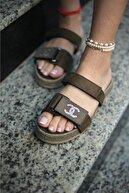 Espardile Kadın Haki Taşlı Sandalet