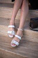 Espardile Kadın Beyaz Taşlı Sandalet