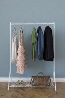 MONTANA Tek Raflı Beyaz Metal Ayaklı Portmanto Askılık, Konfeksiyon Elbise Askısı
