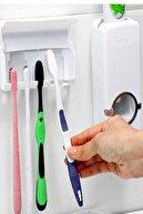 Mobee Otamatik Diş Macunu Sıkacağı Ve 5 Adet Diş Fırçalığı Macun Sıkacak Diş Fırçası Banyo Askı Seti